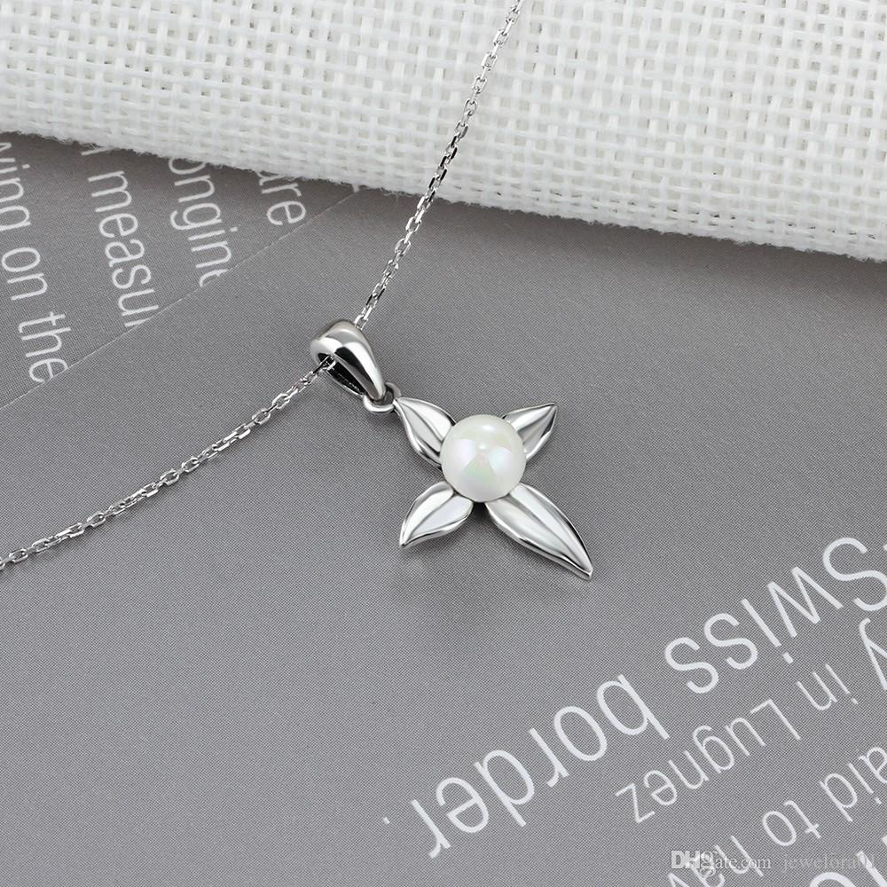 Fashion Cross Shape Pendent With Simulated Pearl 925 Sterling Silver Necklace Charm Pearl Jewely Necklaces for Women