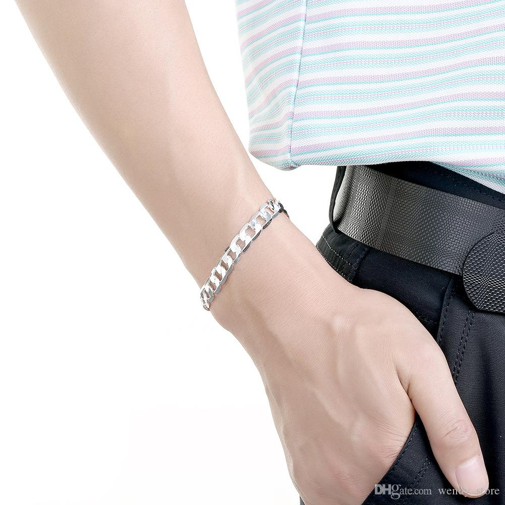Hot Sale 925 Silver Plated Jewelry 6MM 8MM 10MM 12MM Flat Curb Chain Bracelet Men's Bracelet Jewelry FREE DHL