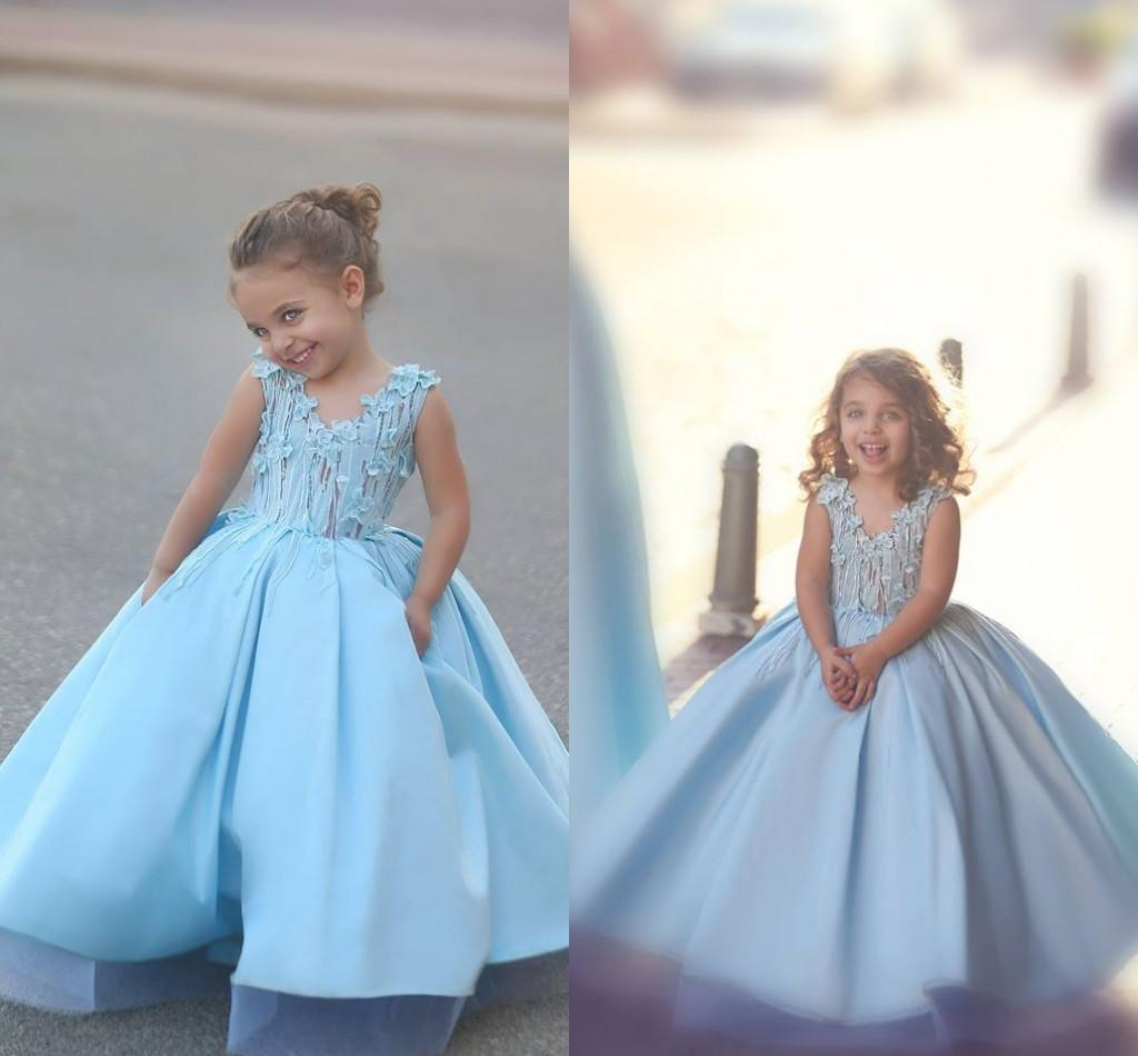 56dcced896 Cute Glitz Light Blue A Line Flower Girl Dresses For Little Girl Mother And  Daughter Dresses Girls Pageant Dresses Communion Dresses BA1763 Kids Wedding  ...