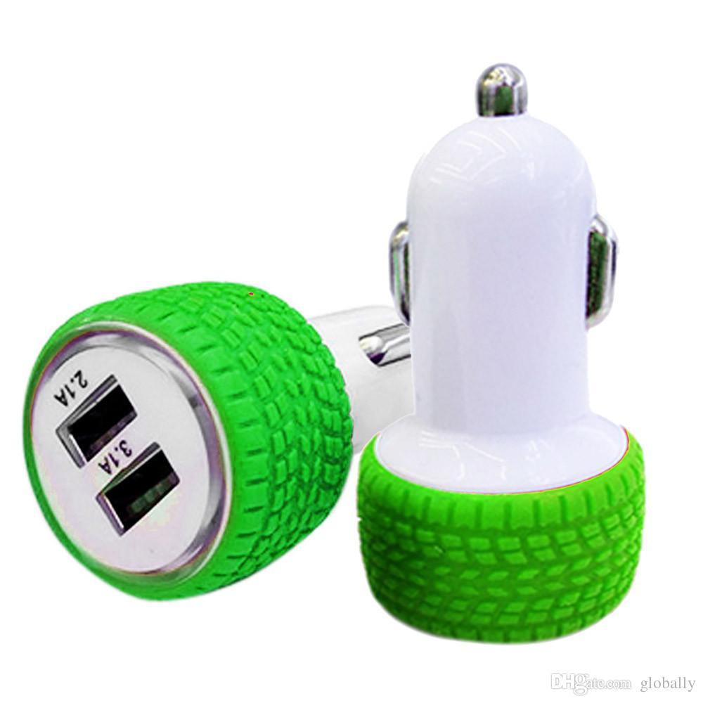 ГОРЯЧАЯ ПРОДАЖА Новый 2.1A / 1.0A Мини-форма колеса Dual 2 Port 12V USB Авто В Автомобильное Зарядное Устройство Адаптер Зарядки приятно
