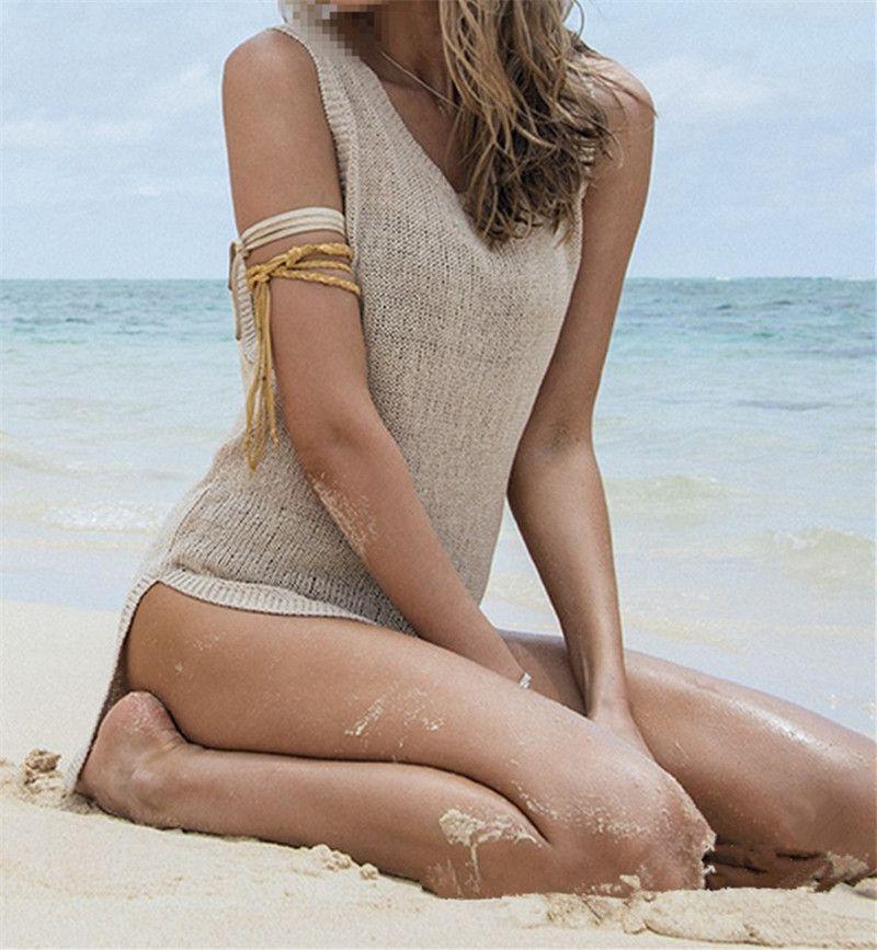 YENI Moda Seksi Yaz Mayo Tığ Cover Up Kadınlar Yaz Plaj Bikini Kapak Up Örgü Mayo Kapak Up Plaj Kıyafeti Elbise 10 Adet / grup