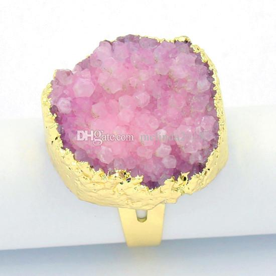 Gold Plated Charm Ring dyeing Rock Crystal Quartz hole Adjustable Rings Accessories Lovers Fashion Wedding Jewelry Amulet