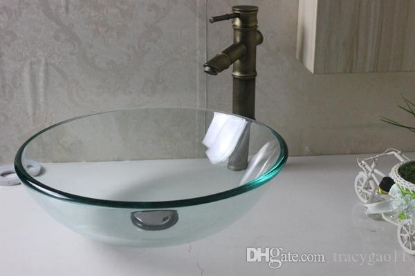 420 Transparent Glaucoma Basin Tempered Glass Vessel Sink With Faucet Set  N 278 Glass Bowl Sinks Glass Sink Basin Above Counter Sink Online With ...