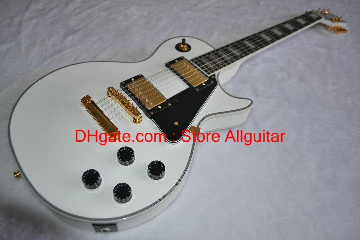 Custom Shop White Ebony fingerboard Frets Binding Electric Guitar Free Shipping