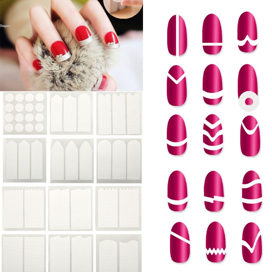 French Nail Finger Manicure Tip Guides Stickers Packs Diy Type 63 ...