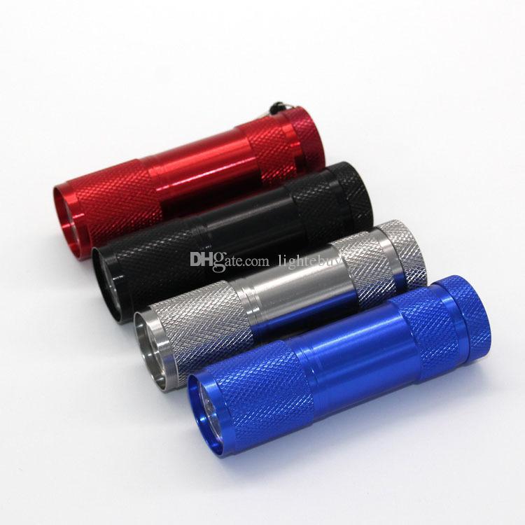 wholesale 9LED 9 LED mini torch UV Light 395-400nm Flashlights led small torch light flashlight Free DHL