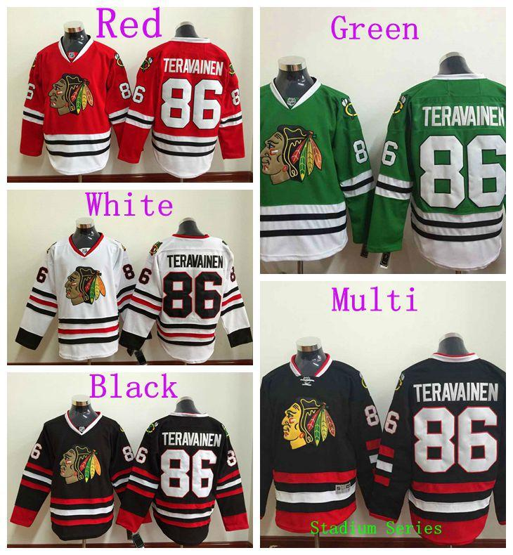 2018 top quality mens chicago blackhawks 86 teuvo teravainen jersey red black white green stadium se
