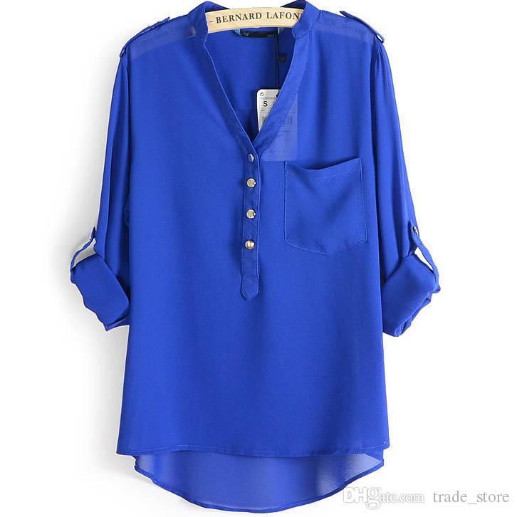 4825e0d890 Compre Moda Outono Blusas E Camisas Com Decote Em V Manga Comprida Solta  Cores Sólidas Plus Size Casual Mulheres Chiffon Blusa Camisa Tops T Camisas  B117 De ...