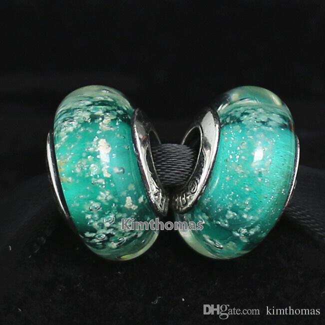 Granos sueltos bricolaje Lampwork hecho a mano de plata de ley 925 Ariel 's Fluorescencia de Murano Glass Charm Bead adapta a las pulseras de la joyería europea de Pandora