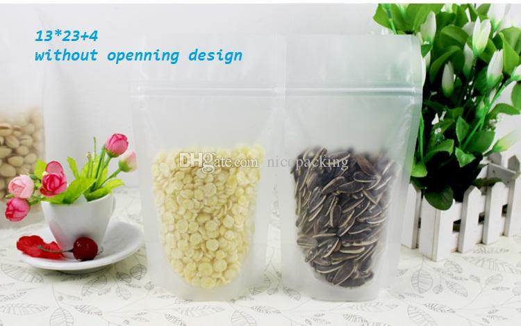 mini order clear frosted plastic bag stand up Ziplock design Packaging Bag for nuts, tea, rice, corn, cookie etc 9 size in total