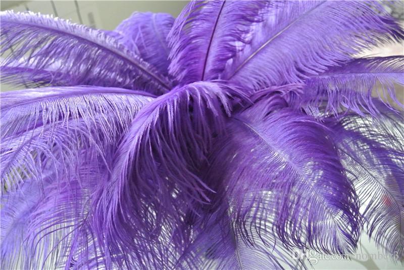 Venta al por mayor 100 unids 14-16 pulgadas pluma de avestruz púrpura pluma de la boda centro de mesa de boda decoraction partido mesa central