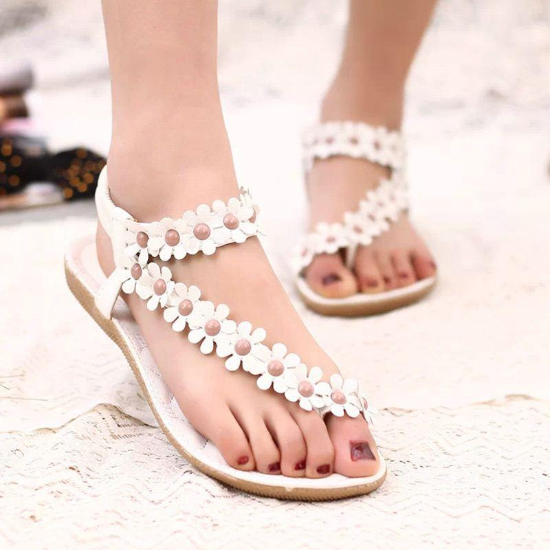733e0e323b0 Flower Women Sandals Fashion Women Flat Sandals Summer Shoes Ladies Sandals  Blue Shoes Cheap Sandals From Nice_coltd, $20.75| DHgate.Com