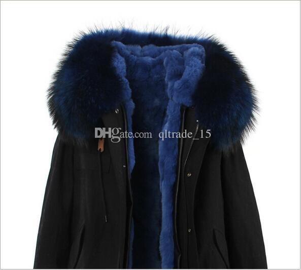 White raccoon fur trim Jazzevar brand rabbit fur liner long Khaki parka Liner Detachable women snow coats furs rex rabbit fur lined jackets