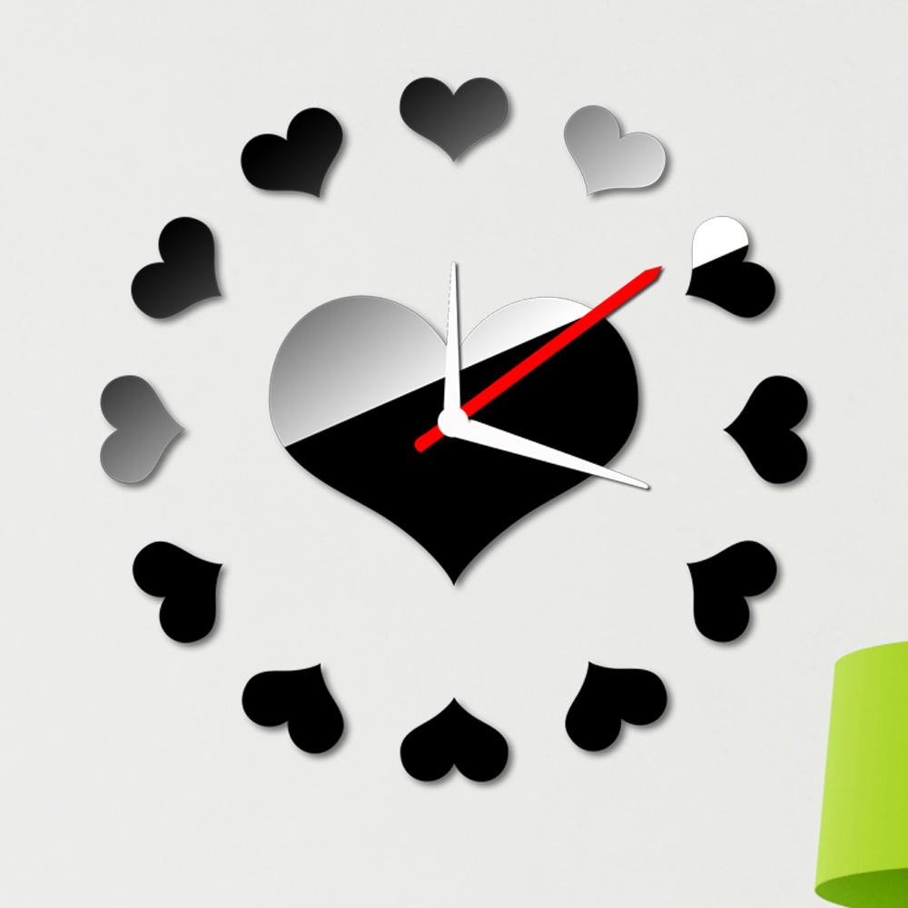 Removable Room Decar Loving Heart Wall Clock Sticker Set Creative