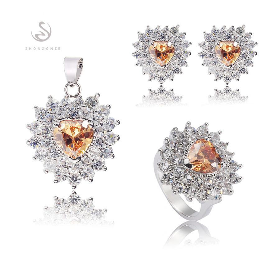 Edle großzügige MNGr # 6 7 8 9 Romantische Orange Zirkonia Bestseller Kupfer rhodiniert Charm Herz Set Ring / Ohrring / Anhänger
