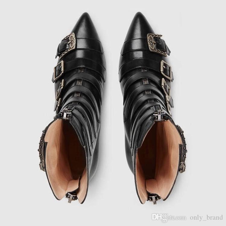 2017 nouvelle mode classique en cuir bottes martin mince talon haut stiletto rétro moto pointu orteils noir prendre le serpent femmes bottines