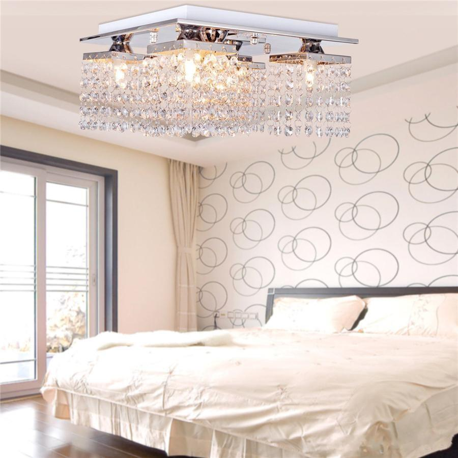 2017 Hot Hanging Crystal Linear Chandelier Pendant Lights Solid Metal Fixture Modern Flush Mount Ceiling Light For Dining Room Bedroom From