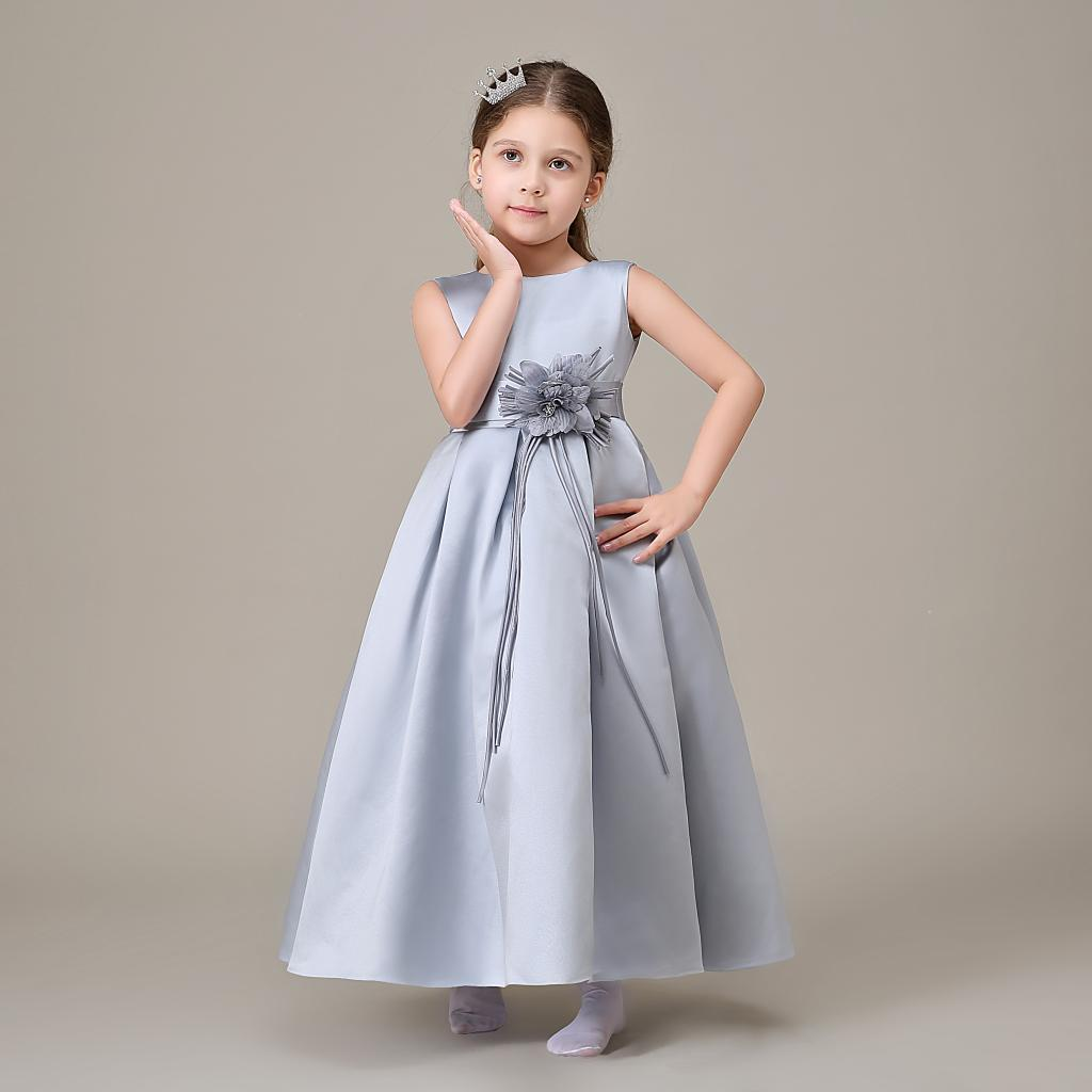 Grey Satin Flower Girl Dresses For Weddings Ankle Length Cap Sleeve