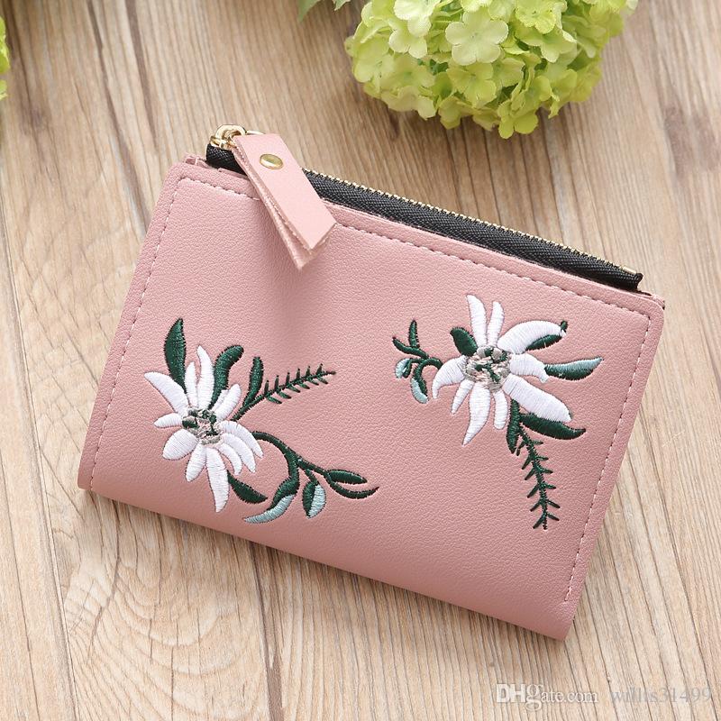 Women Wallets Lady Short Floral Purses Cards
