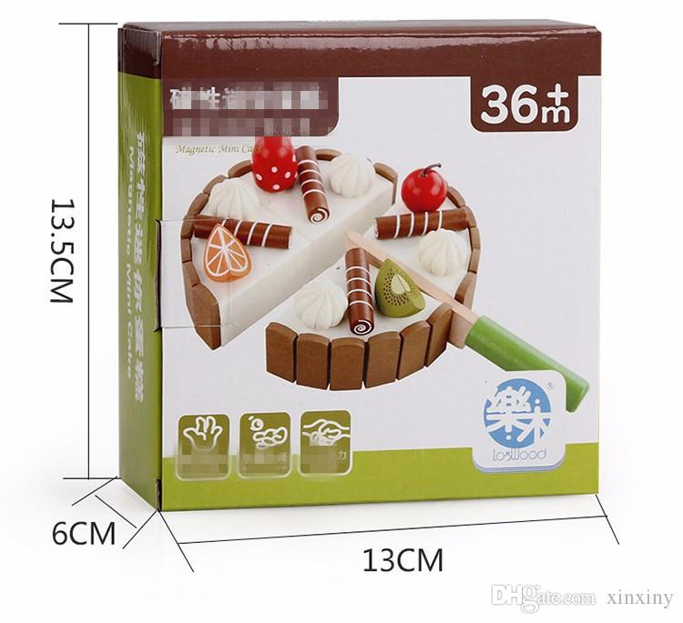 Pretend Food Play Invisible Magnetic Wooden Mini Birthday Cake Pretend Play Children Early Educational Playing Toys Kids Gifts