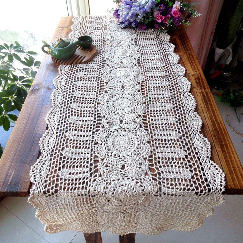 2015 New Arrival Zakka Cotton Crochet Lace Table Runner For Home