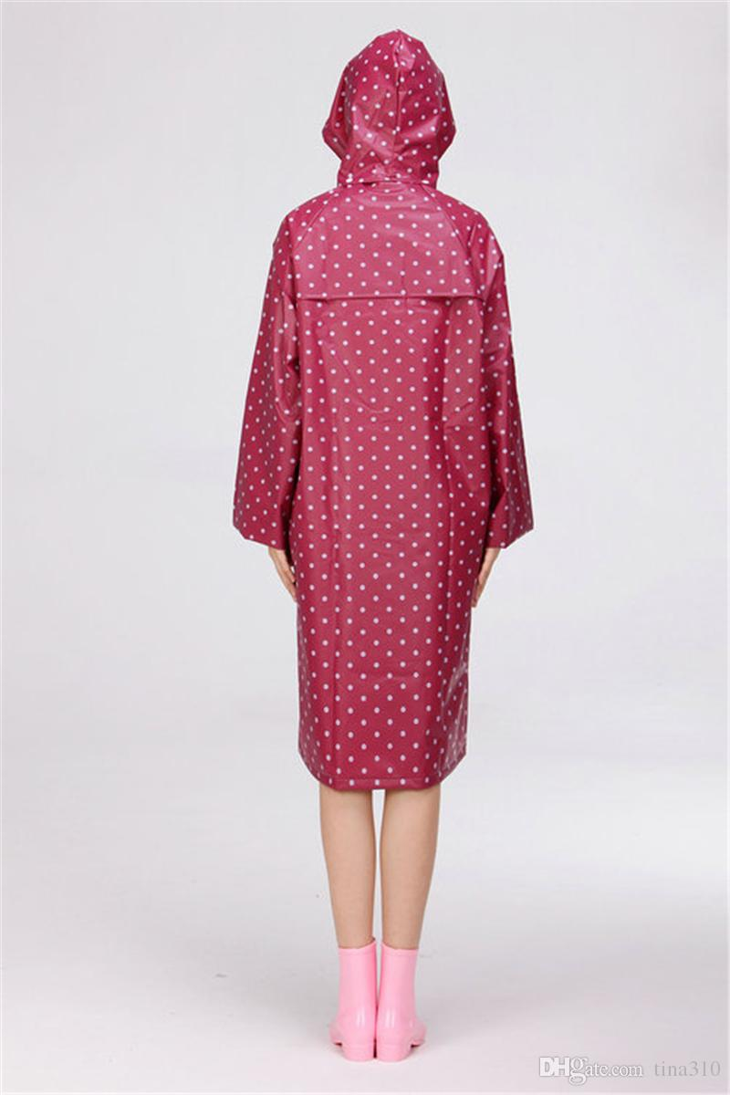 Puantiyeli Tarzı Kız Lady Kapşonlu Yağmurluk Kadınlar Açık Seyahat Su Geçirmez Sürme Bez Yağmurluk Panço Uzun Rainwear IC883