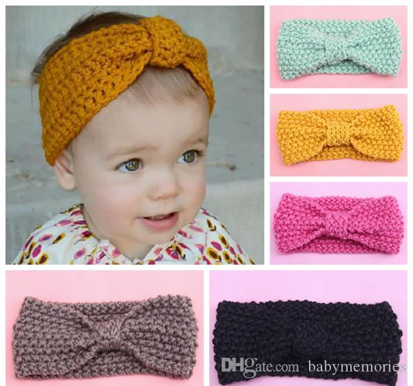 Crochet Headbands For Girls Baby Cute Hair Accessories Kids Knit Hair Bows  Children Boutique Hairbands Toddler Headband Tops Wholesale 7colo Kids Hair  ... ce02ddc41c2