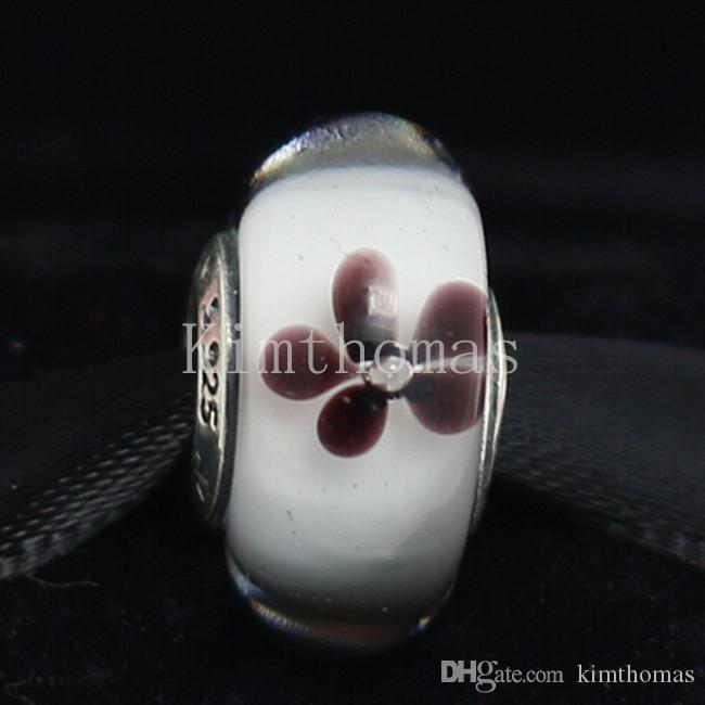 DIY Loose Beads Handmade Lampwork 925 Sterling Silver Black Cherry Blossom Murano Glass Charm Bead Fits European Pandora Jewelry Bracelets