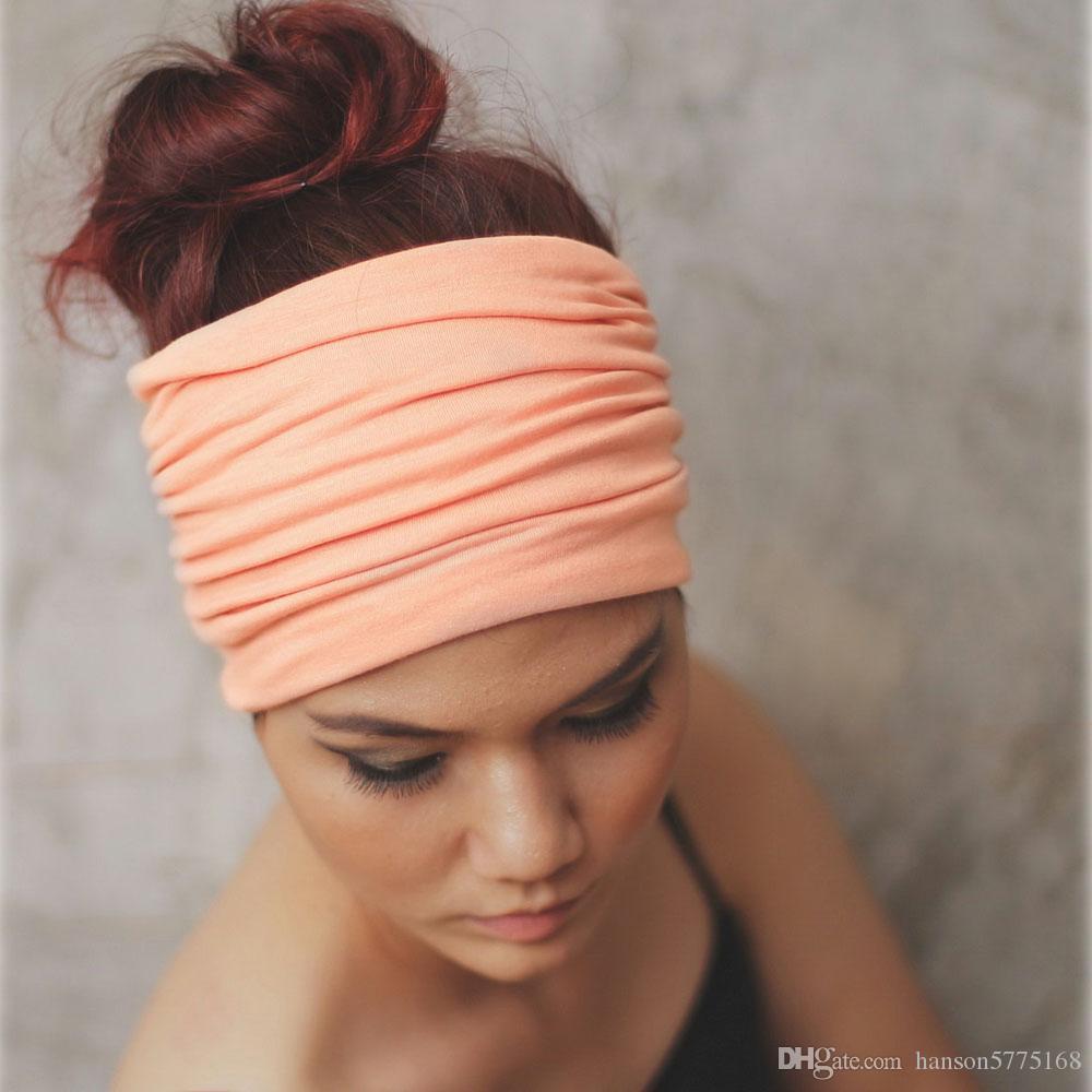 Sólido ancho Patchwork algodón deportes diadema para mujeres moda de moda causal elástica turbante Headwraps Yoga HairBand