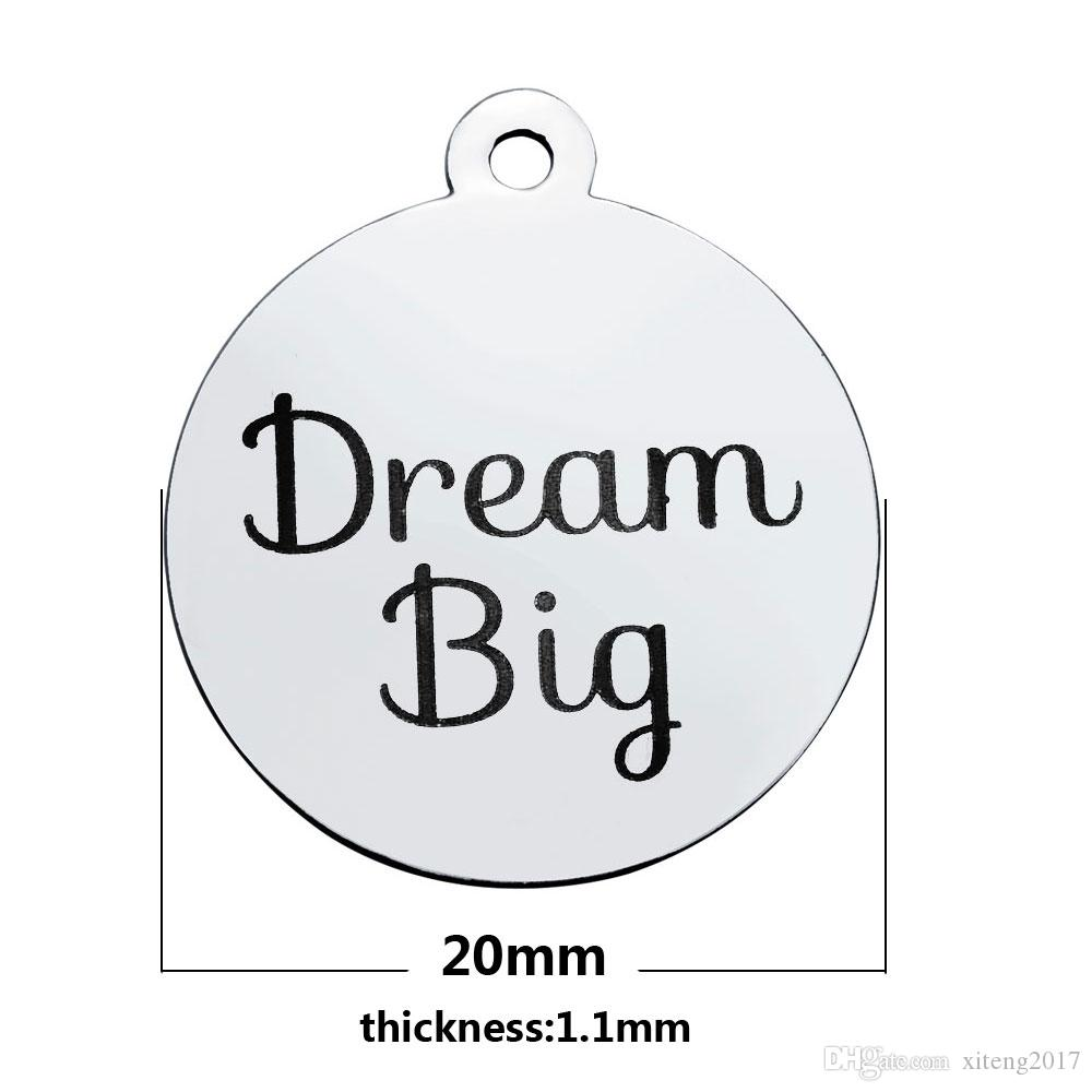 New High Quality Steel Color Metal Black Word Live Laugh Love Charm Pendant For DIY Jewelry Making Supplies Fashion Dream Big Letter Charms