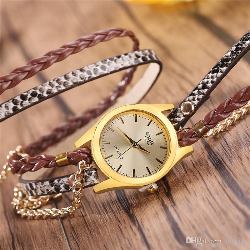 690a375f4e87 Модные женские часы повседневные часы Браслет Кожа Кристалл Браслет  Плетеный ...