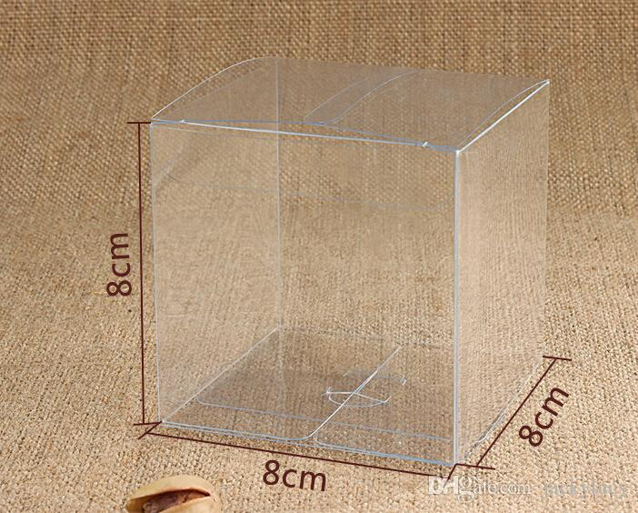 8*8*8 cm Universal Square Clear PVC Packaging Box Plastic Containers Fruit Gift Box Candy Chocolate Cake Box