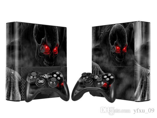 Cool Dark Skull Skin Sticker Protector Vinyl Decals for Xbox 360 E Protective Console Skin+Controller Cover Skin Sticker