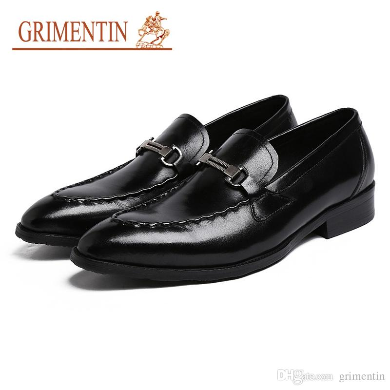 GRIMENTIN Fashion formal mens dress shoes genuine leather slip-on buckle male loafers hot sale wedding business office mens shoes