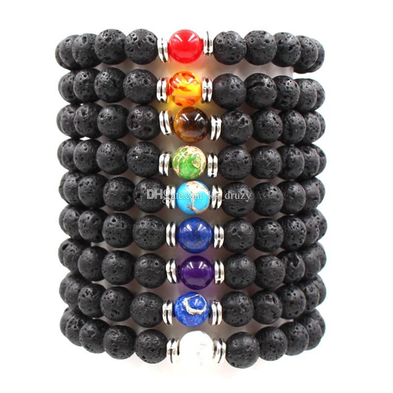 7 Chakra Natural Black Lava Stone Beads Elastic Bracelet Essential Oil Diffuser Bracelet Volcanic Rock Beaded Hand Strings