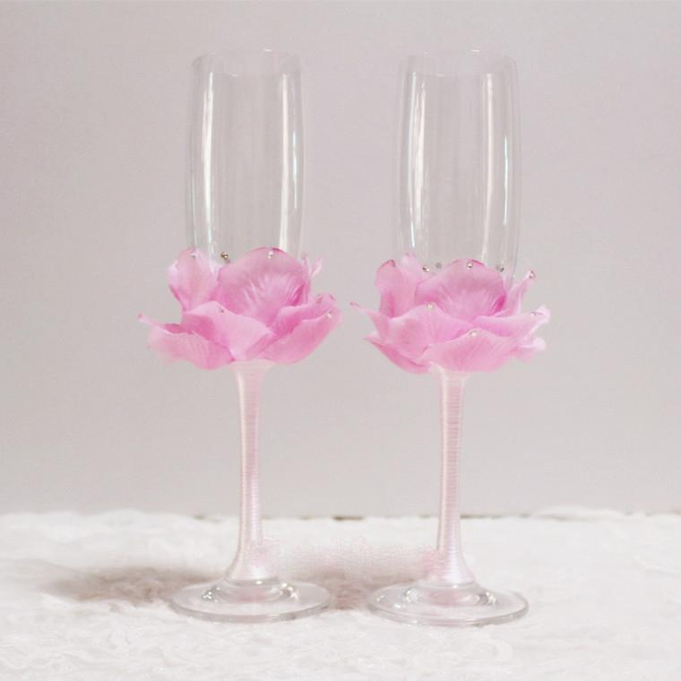 handmade flower crystal champagen flute without lead champagne cups petal champagne glasses natural forest style wedding favor elegant wedding favors - Crystal Champagne Flutes