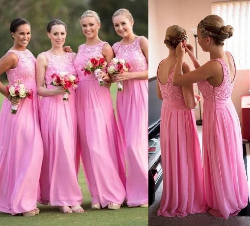 Pink Lace Chiffon Bridesmaid Dresses Under 100$ 2015 Beach Garden ...