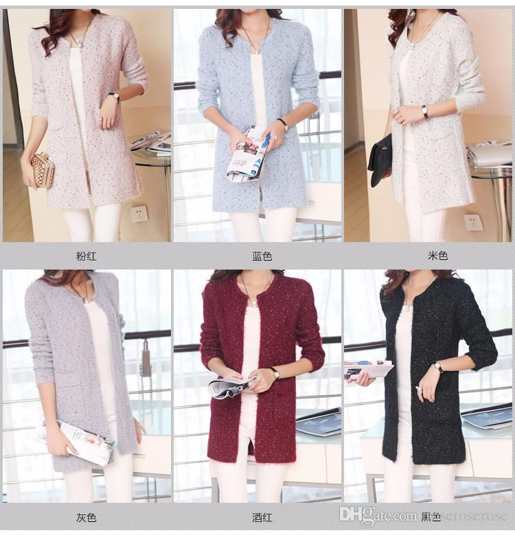 00053459c030c 2019 Autumn Winter Women Casual Long Sleeve Knitted Cardigans 2017 ...