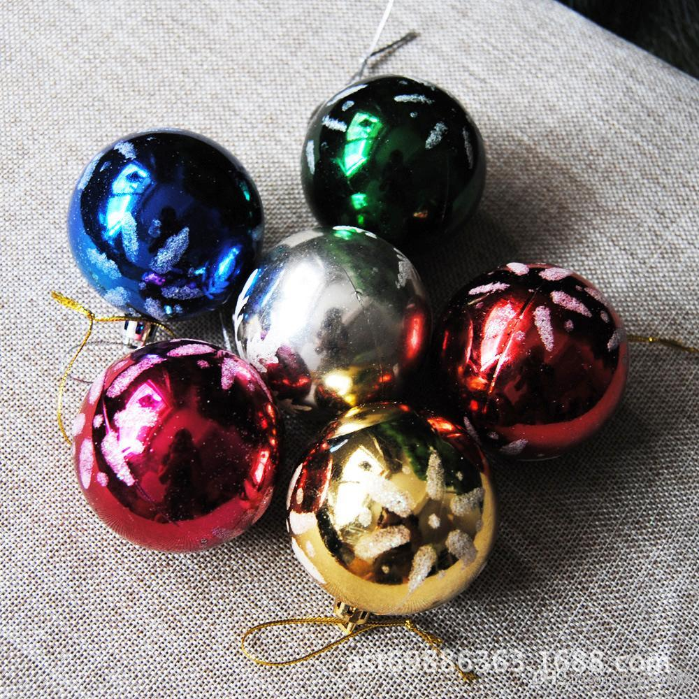 colorful print snow christmas balls 6cm plastic cute christmas tree ornament christmas decorations balls outdoor christmas present decorations outdoor - Outdoor Christmas Balls