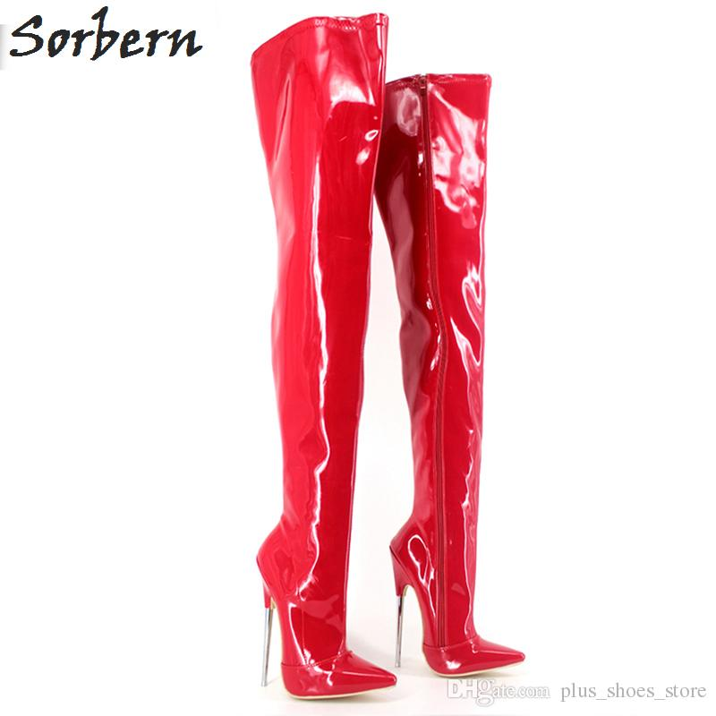 """6 1/4"""" Trend Women Winter Boots High Heels Patent Leather Boots Female Heel Plain Stretch Crotch Thigh High Boot Black Plus Size"""