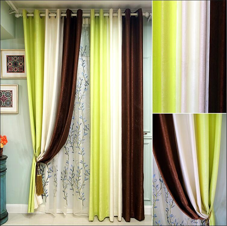 2018 Coffee Green White Color Matching Curtains The Curtain Of Sitting Room Bedroom Modern High Quality Worsted Fashion From