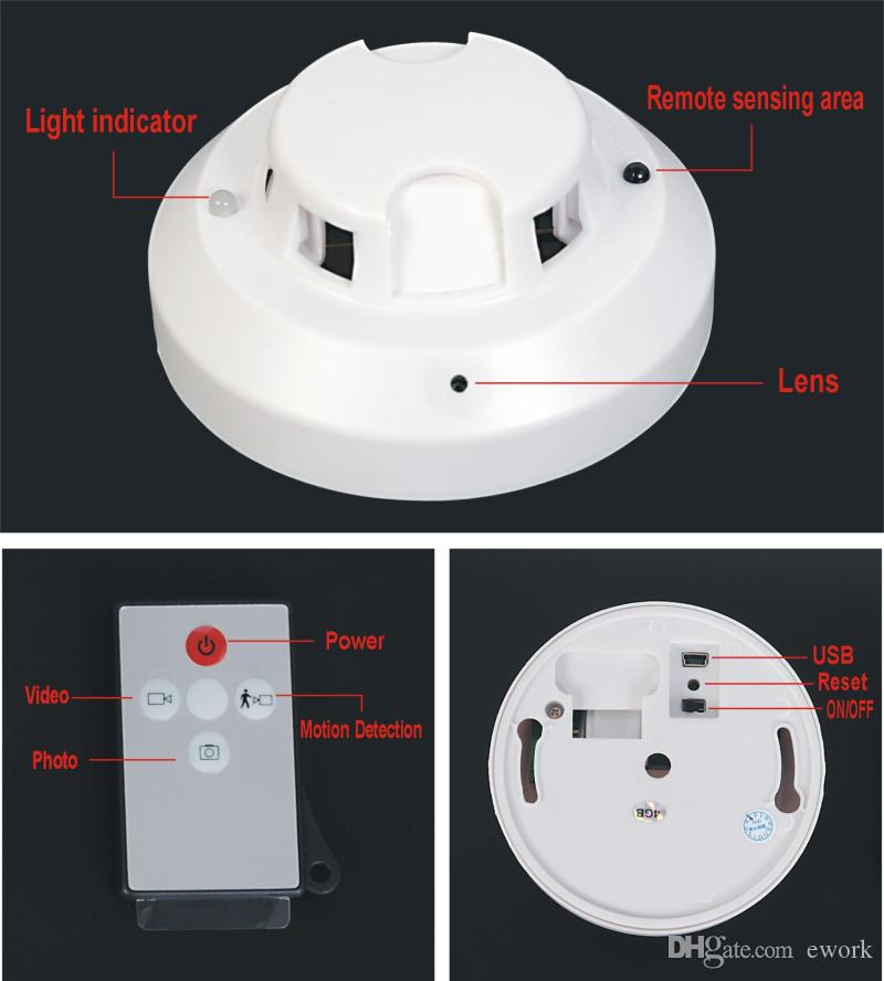 New 720p Hd Motion Detection Smoke Detector Motion Sensor Alarm ...