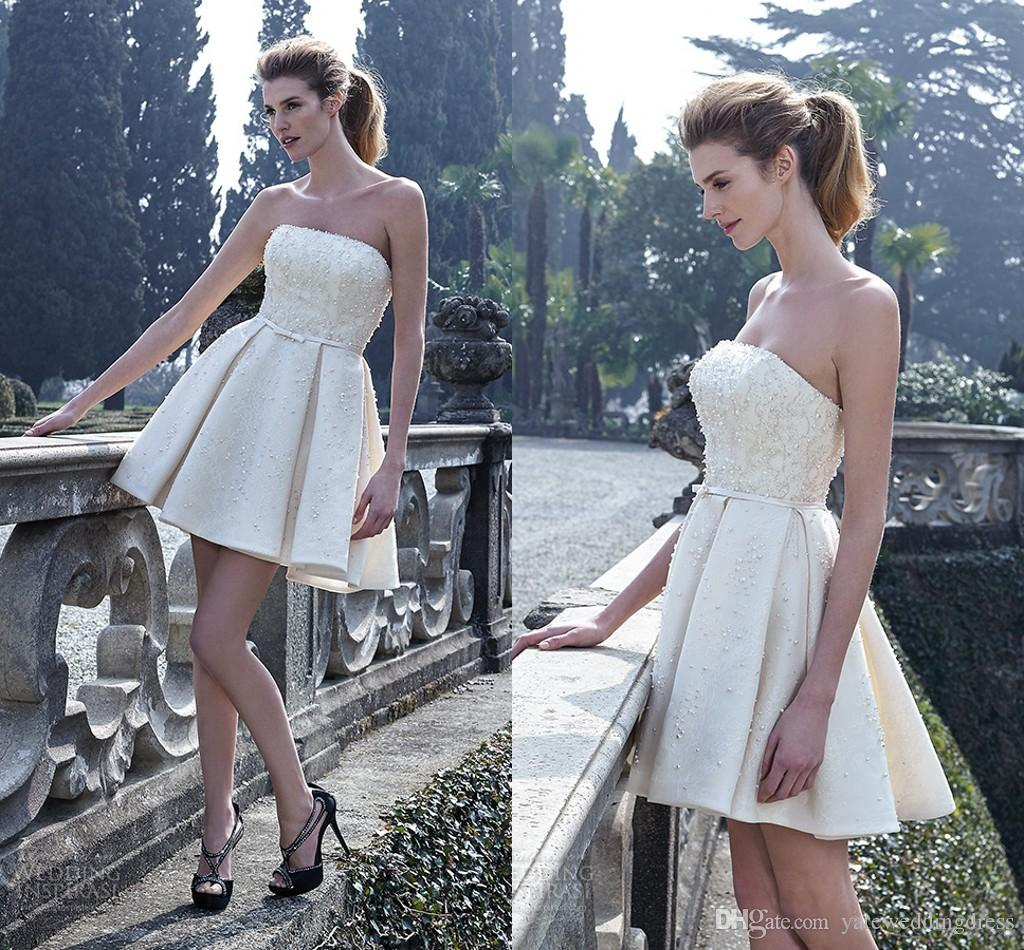 2016 Spring Short Reception Wedding Dresses Mini Length Satin Beaded ...