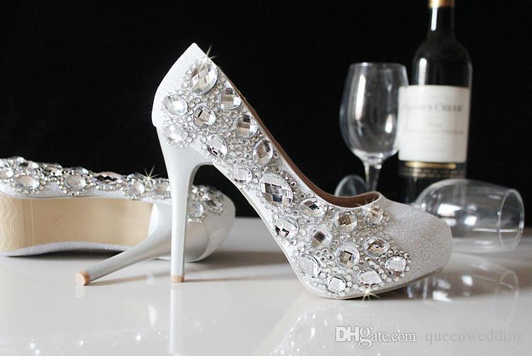 2015 Elegant Silver Crystals Pumps High Heels Rhinestones Beaded ...