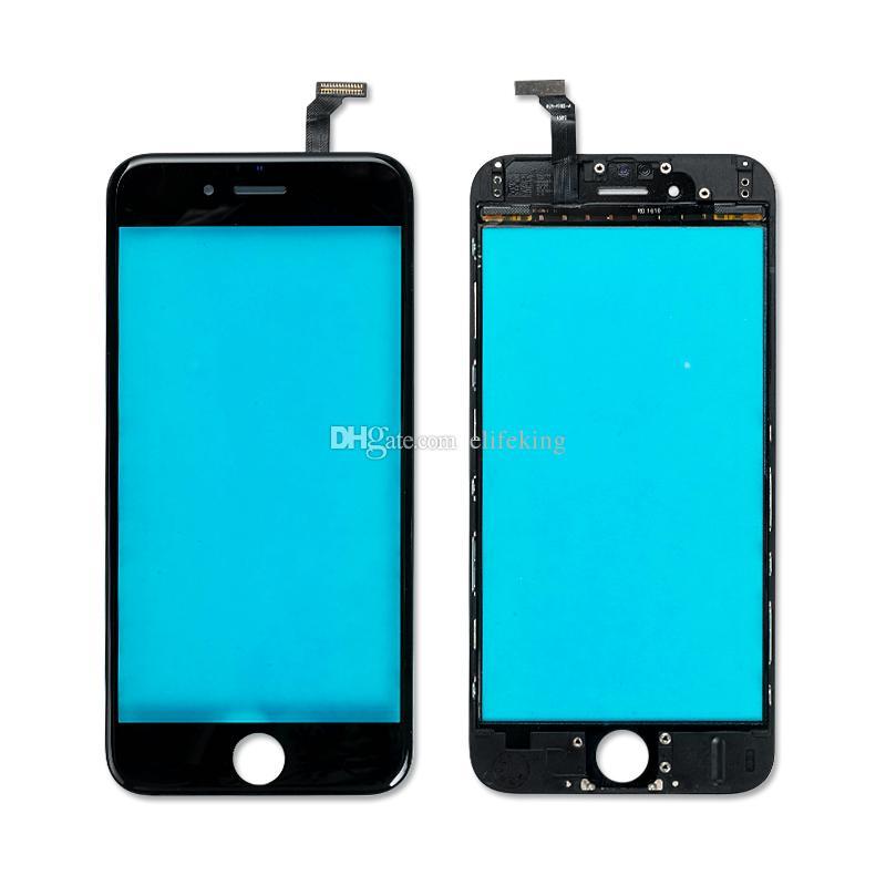 Lente exterior de vidrio frontal preensamblado para iPhone 6 6 Plus 6S 6S Plus con marco de marco + OCA Cristal frontal de película Negro Blanco
