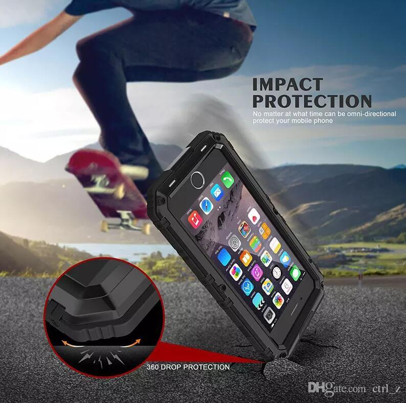Hybrid Armor metal Cases waterproof Shockproof Dirt-proof case For Iphone X 8 7 6S Plus with tempered screen
