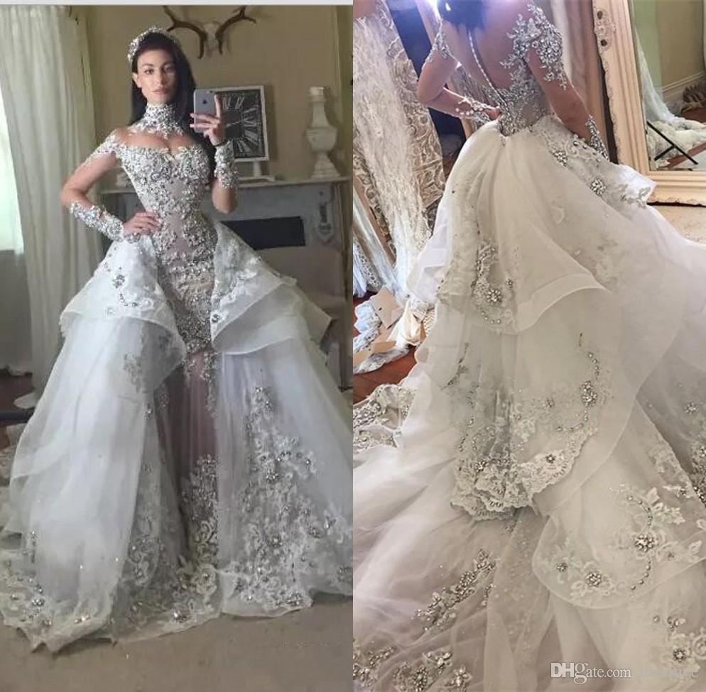 Robes De Mariee De Luxe En Cristal 2018 Avec Jupe Amovible Col Haut Manches Longues Perlees Appliques Tribunal Train Robes De Mariee