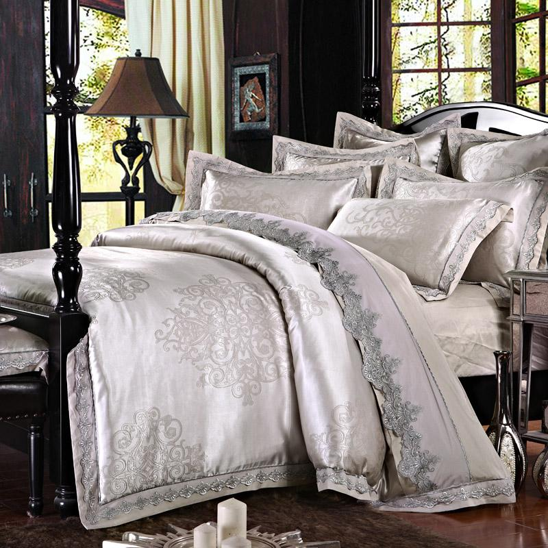 Luxury Silver Jacquard Bedding Set With Lace Queen King