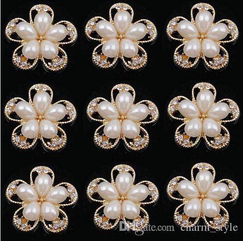 30% de descuento 25mm oro caliente flor de plata botón de la aleación de perlas arco del pelo botón del rhinestone adorno de espalda plana accesorio para el cabello DIY MF /