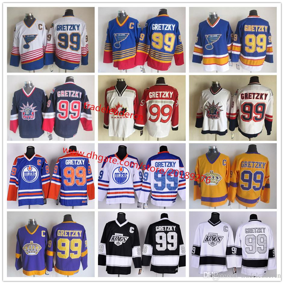 6faed97955e 2019 Vintage 99 Wayne Gretzky Los Angeles Kings Edmonton Oliers St. Louis  Blues New York Rangers LA Black Blue Purple White Gold Hockey Jerseys From  ...